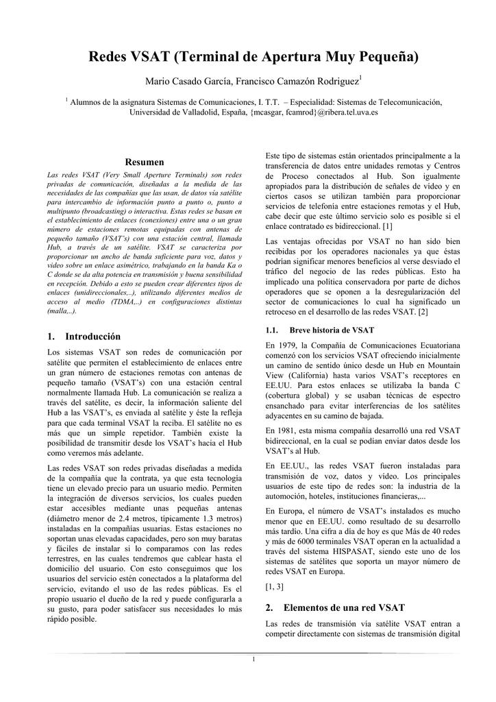 Redes VSAT (Terminal de Apertura Muy Pequeña)