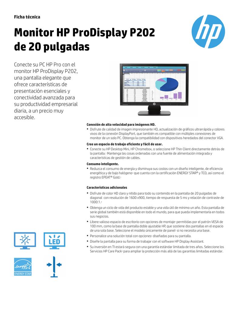 Monitor HP ProDisplay P202 de 20 pulgadas