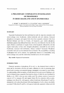 a preliminary comparative investigation of phosphorus in irish