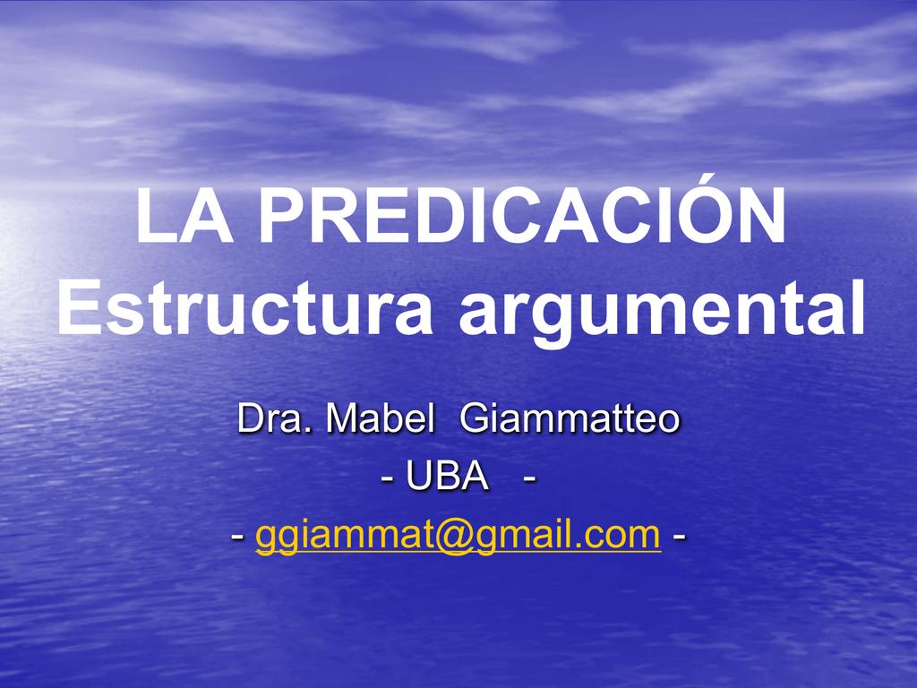 La Predicación Estructura Argumental