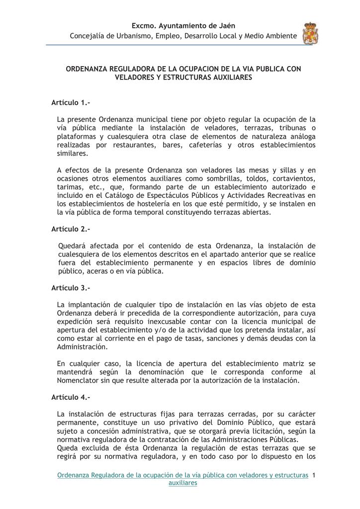 Excmo Ayuntamiento De Jaén Concejalía De Urbanismo Empleo