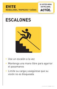Escalones (Slips, trips, and falls poster)