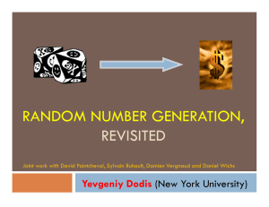 RANDOM NUMBER GENERATION, REVISITED