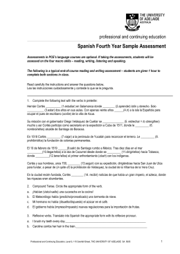 Spanish Fourth Year Sample Assessment