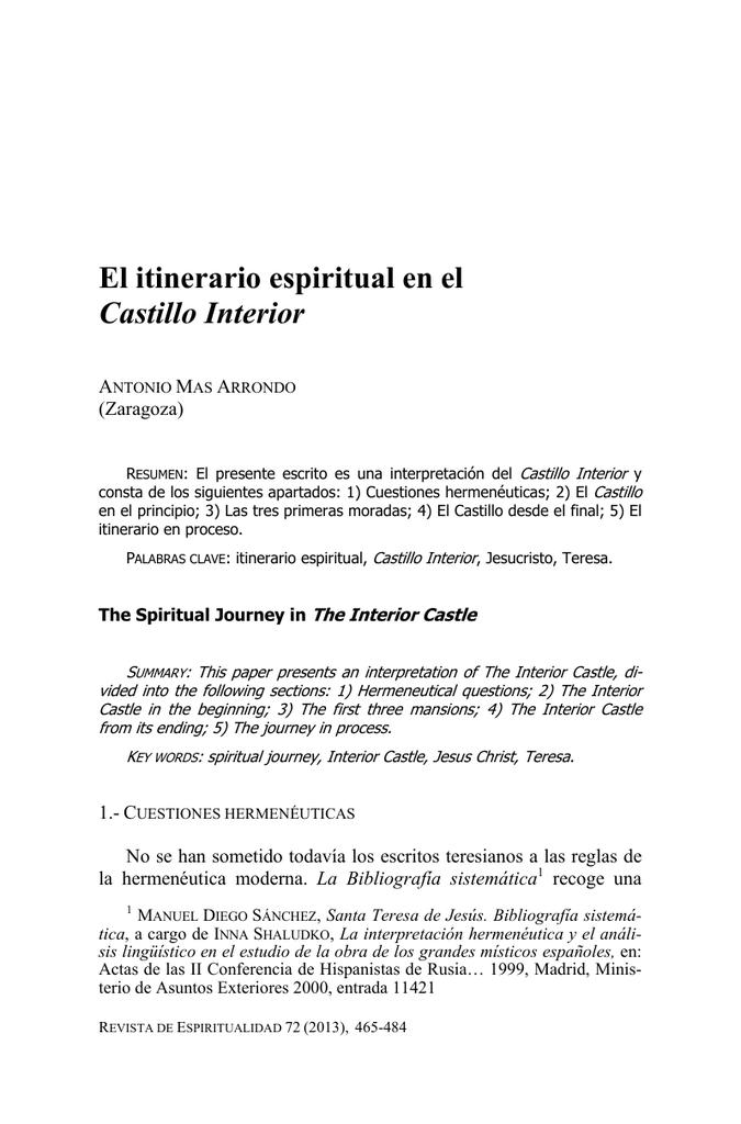 El itinerario espiritual en el castillo interior - Teresa of avila interior castle summary ...