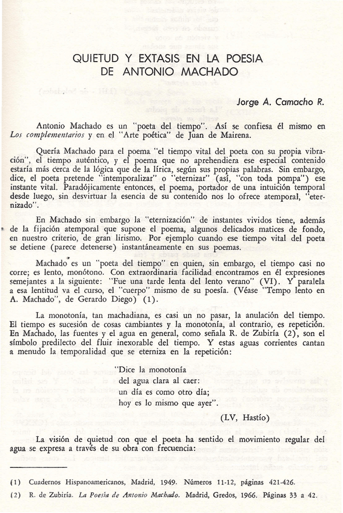 Quietud Y éxtasis En La Poesía De Antonio Machado