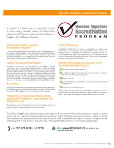 Members-Suppliers Accreditation Program