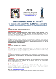International Alfonso XII Award to the excellence in the subterranean