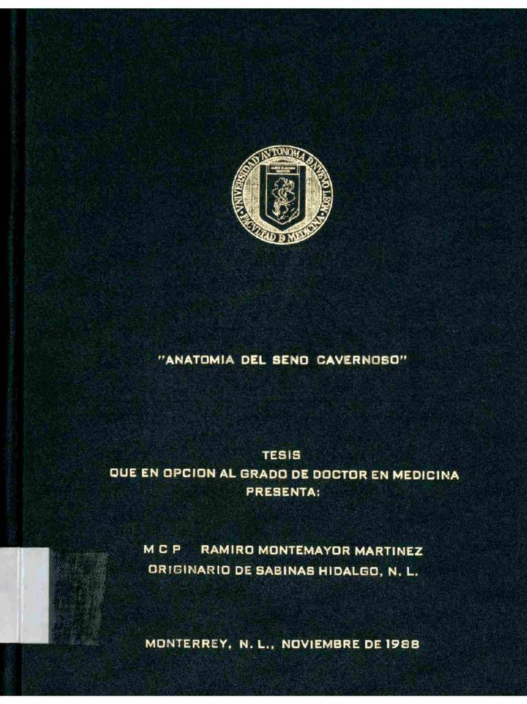 Anatomía del seno cavernoso - Universidad Autónoma de Nuevo