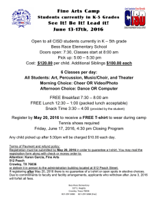 Fine Arts Camp See It! Be It! Lead it! June 13