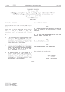 Commission Decision of 30 November 2010 establishing a