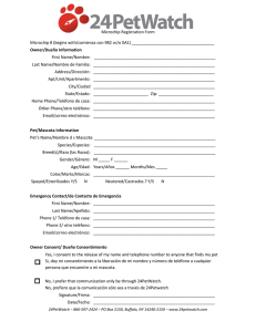 Microchip Registration Form Microchip # (begins with/comienza con