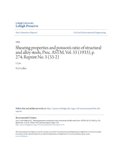 Shearing properties and poisson`s ratio of structural and alloy steels