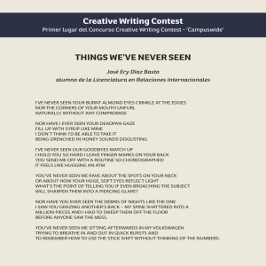 Creative Writing Contest THINGS WE`VE NEVER SEEN
