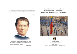 Homenaje de la Comunidad Educativa Leontreciana a Don Bosco