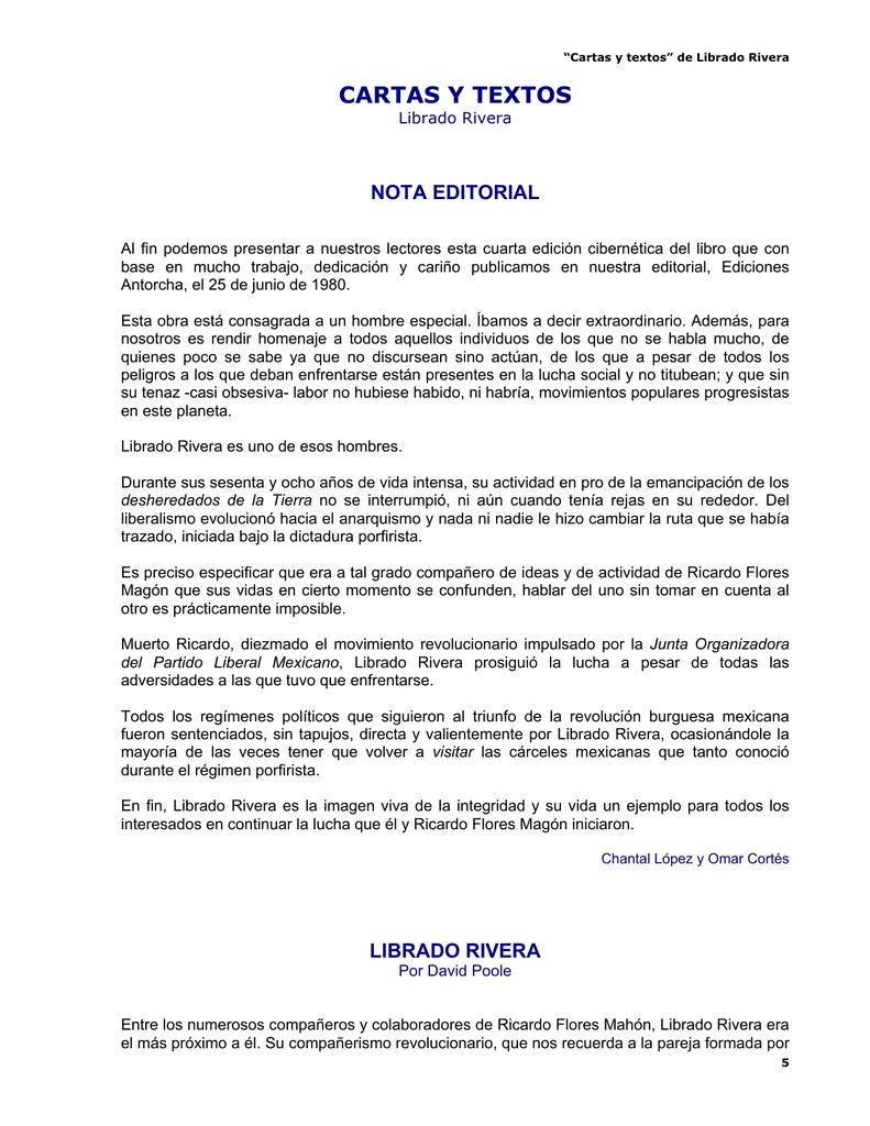 Cartas y textos - Librado Rivera - del Kolectivo Conciencia Libertaria