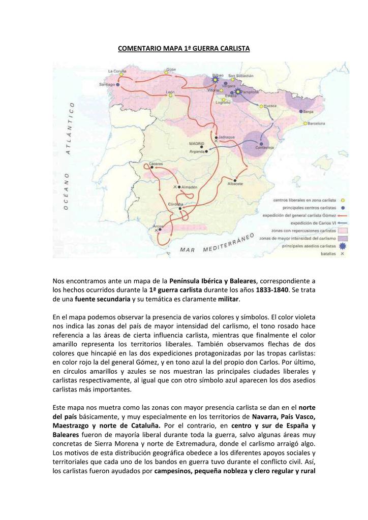 Primera Guerra Carlista Mapa.Mapa Guerra Carlistas