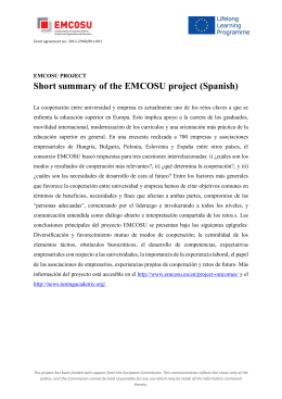 Short summary of the EMCOSU project (Spanish)
