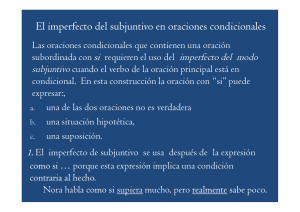 2. Imperfecto del subjuntivo en oraciones condicionales