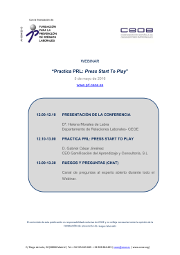 "Programa Webinar ""Practica PRL: Press Start To Play"""