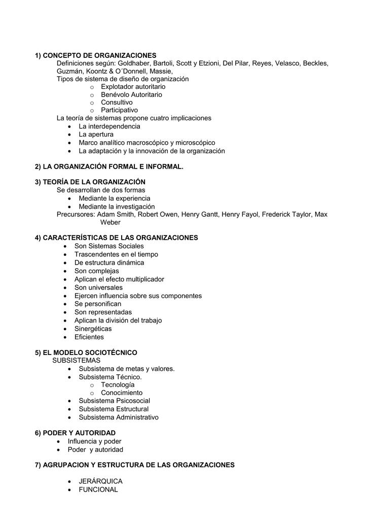 1 Concepto De Organizaciones Definiciones Según