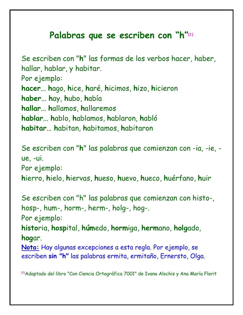 Palabras Que Se Escriben Con H 1