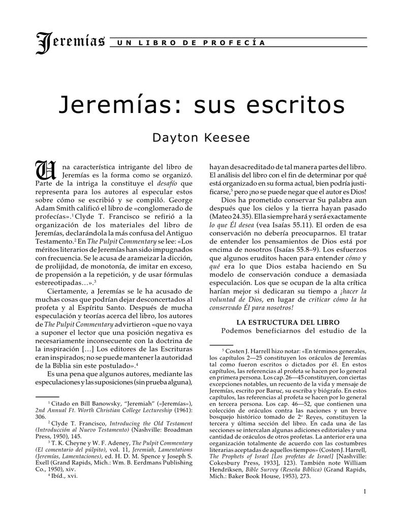 Jeremías: sus escritos - cursos bíblicos para obreros cristianos