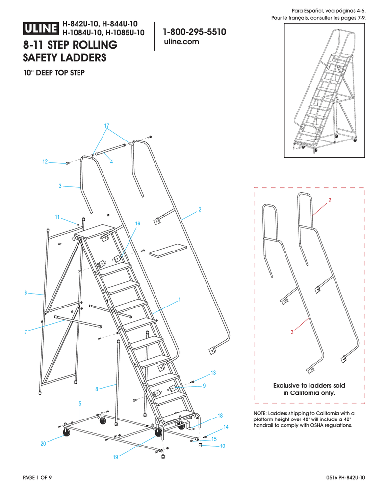 8-11 step rolling safety ladders