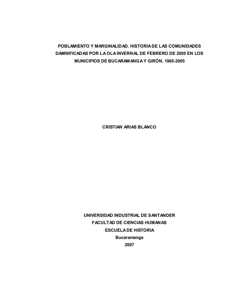 poblamiento y marginalidad - Repositorio Institucional UIS