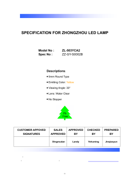 specification for zhongzhou led lamp