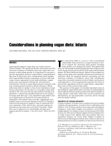 Considerations in planning vegan diets: Infants
