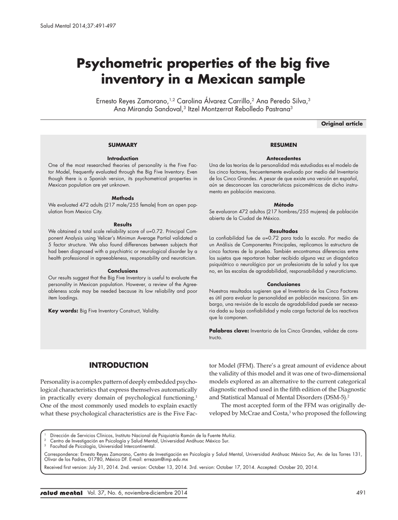 Psychometric properties of the big five inventory in a Mexican
