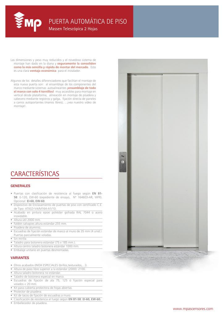 puerta automática de piso características