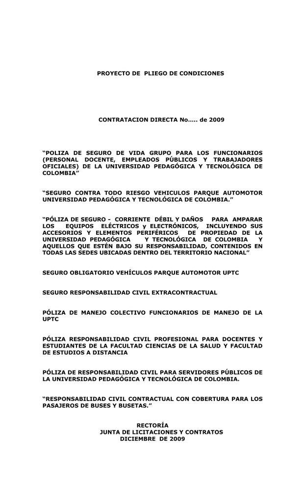 pliego de condiciones - Universidad Pedagógica y Tecnológica de