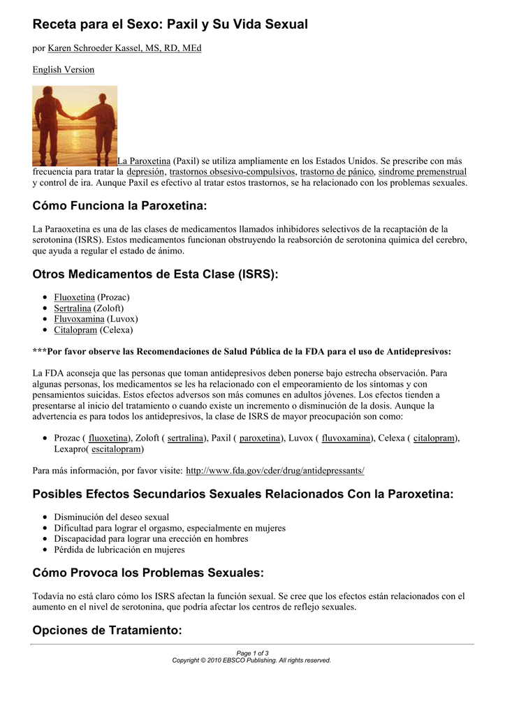 disfunción sexual femenina relacionada con la depresión y medicamentos antidepresivos