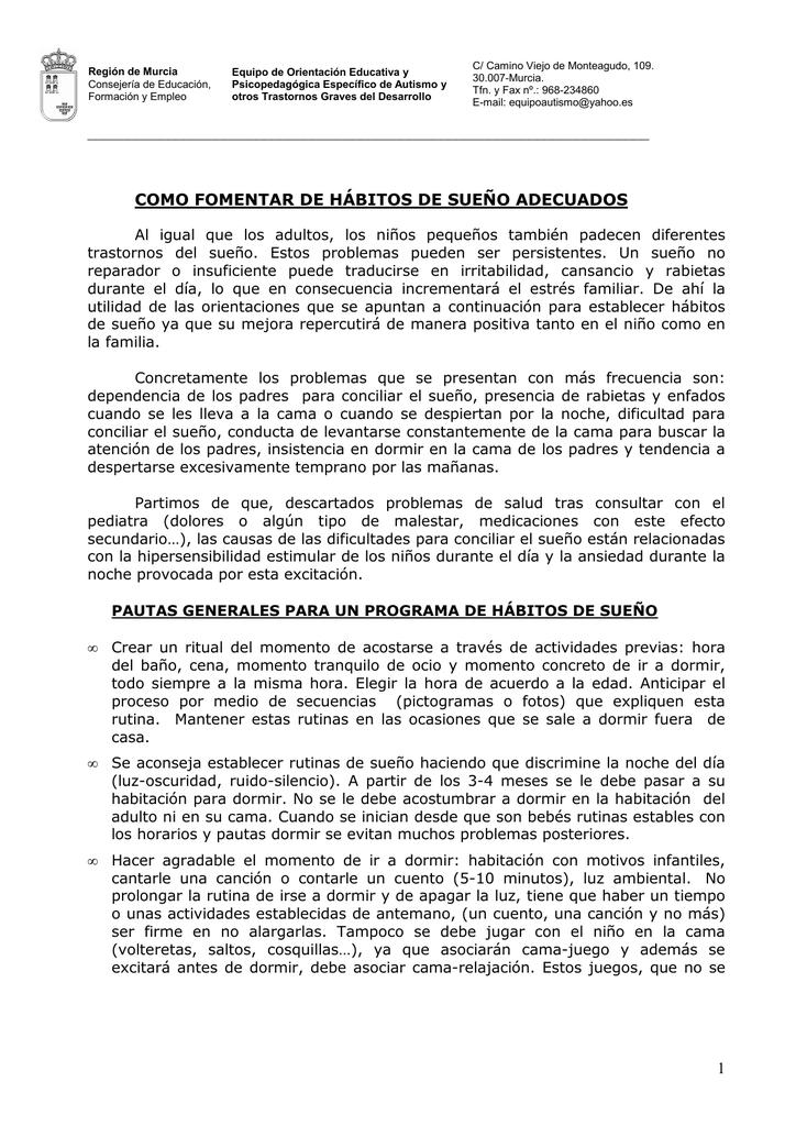 De Sueño Hábitos Murcia Equipo Autismo 0Nn8wOPkX