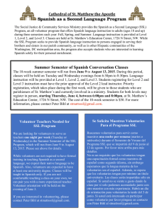 Spanish as a Second Language Program Summer Semester of