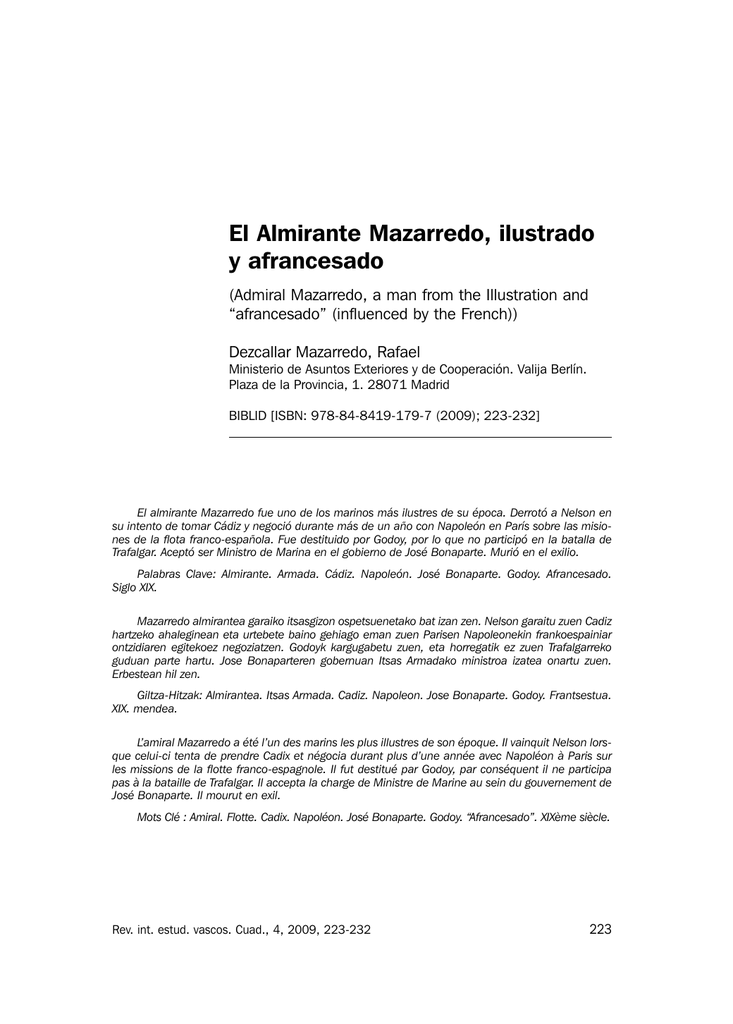 afrancesado El Almirante Mazarredo Ilustrado Y Afrancesado IN