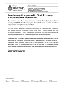 Legal recognition granted to Stock Exchange System Workers Trade