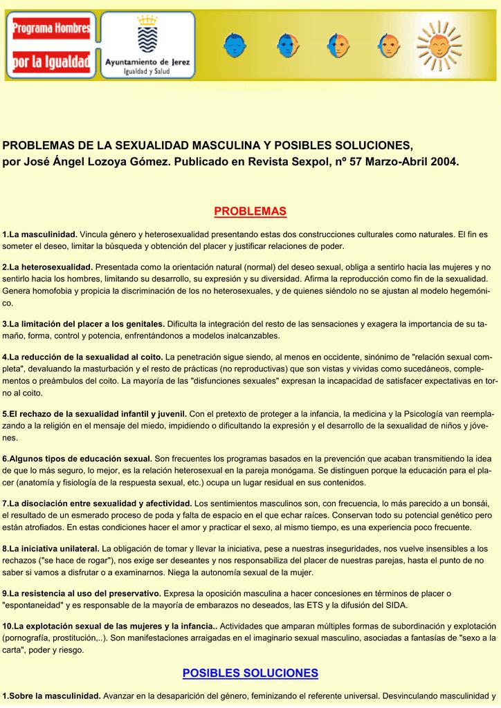 PROBLEMAS DE LA SEXUALIDAD MASCULINA Y POSIBLES