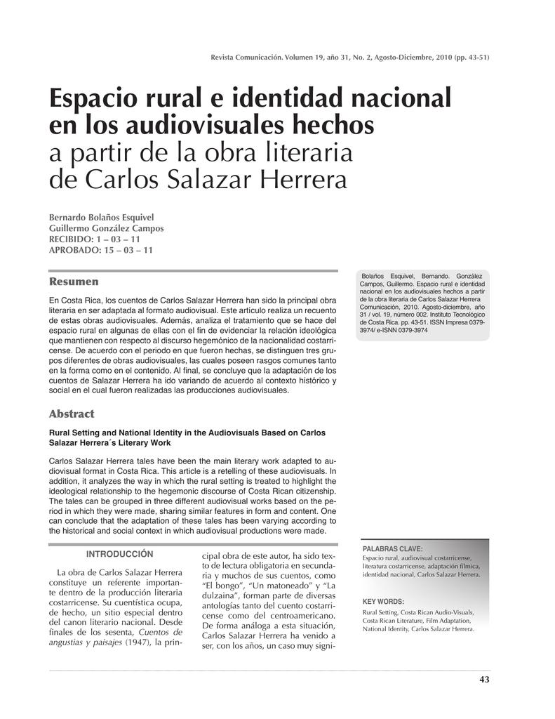 Espacio rural e identidad nacional en los audiovisuales hechos a