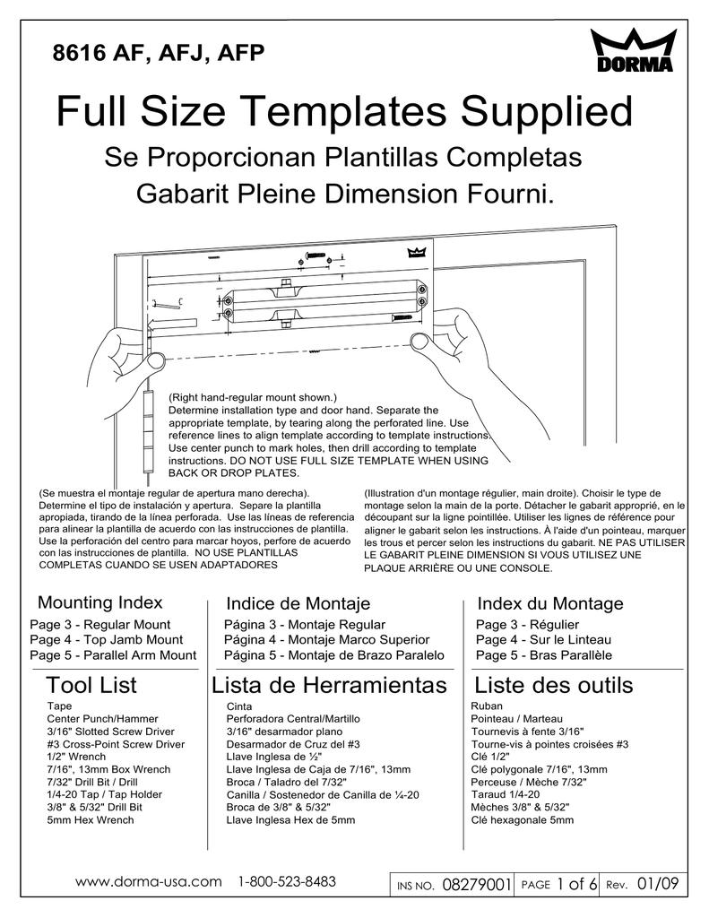 Dorma 8616 AF, AFJ, AFP Install Sheet