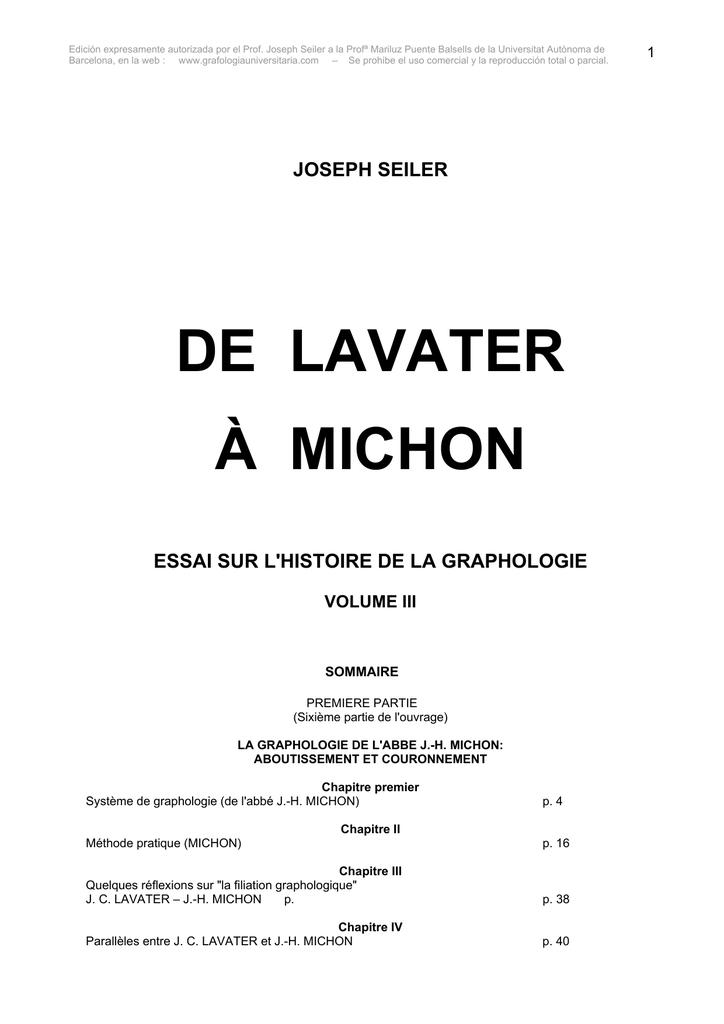 DE LAVATER À MICHON