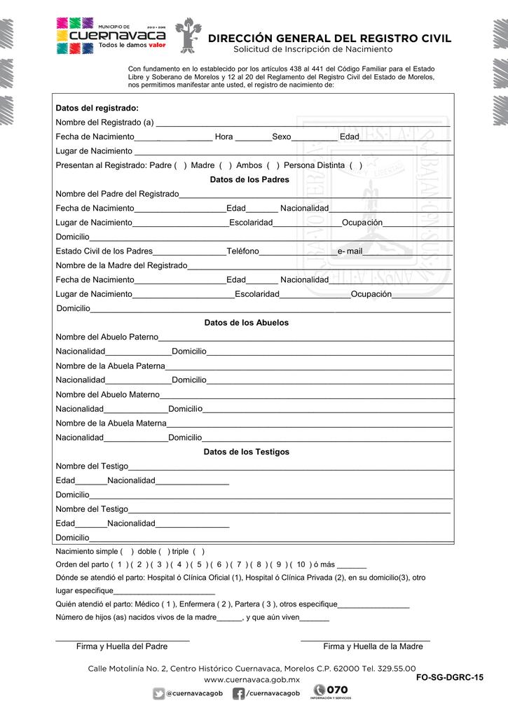 Solicitud de Inscripción de Registro de Nacimiento