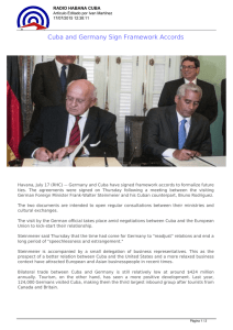 Cuba and Germany Sign Framework Accords