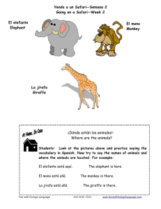 Activity Sheet Where are the Animals Spanish 3-5years