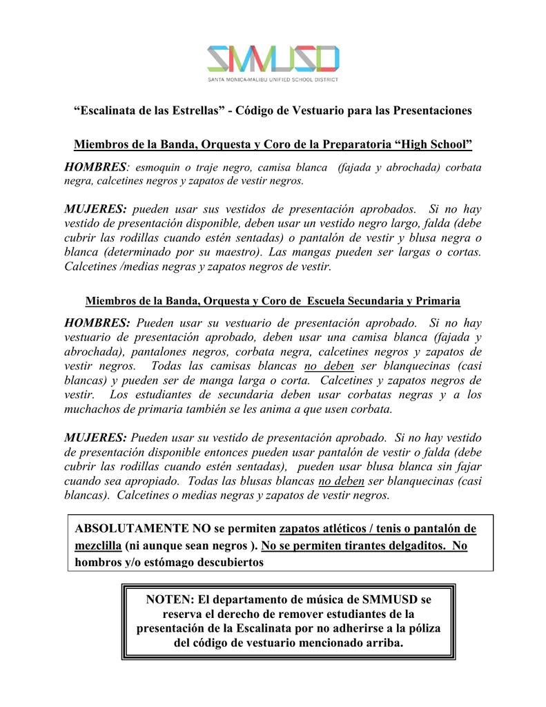 9fd3816e9 2016 Código de Vestuario para las Presentaciones