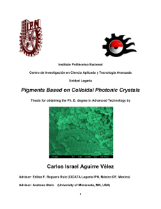 Pigments Based on Colloidal Photonic Crystals Carlos Israel Aguirre