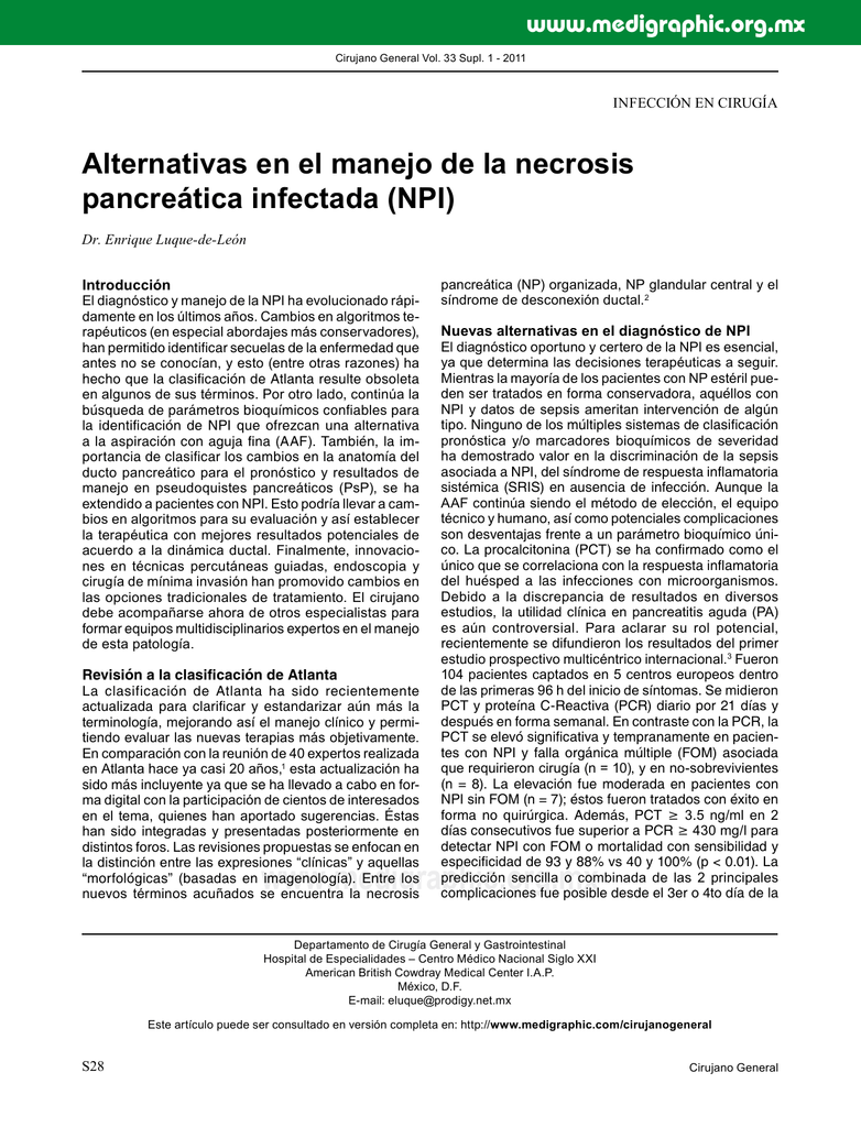Alternativas en el manejo de la necrosis pancreática infectada (NPI)