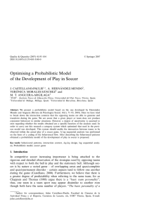 Optimising a Probabilistic Model of the Development of Play in Soccer